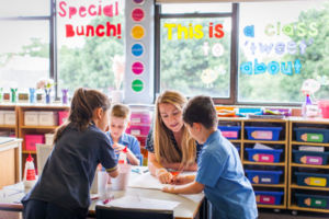 Teacher working with students in classroom